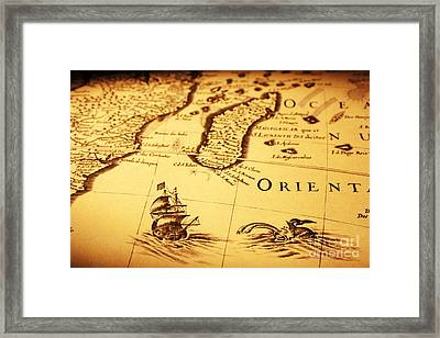 Old Map Sea Monster Sailing Ship Africa Madagascar Framed Print by Colin and Linda McKie
