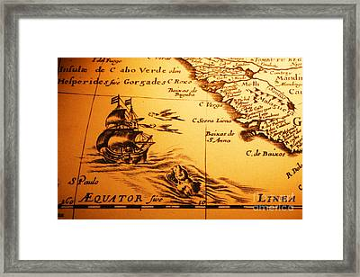 Old Map Sea Monster Sailing Ship Equator Africa Framed Print by Colin and Linda McKie