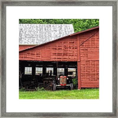 Old Massey Ferguson Red Tractor In Barn Framed Print by Edward Fielding