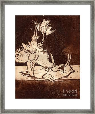 Old Masters Still Life - With Great Bittern Duck Rabbit - Nature Morte - Natura Morta - Still Life Framed Print