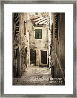 Old Medieval Alley Framed Print by Mythja  Photography