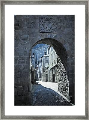 Old Medieval Street Scene Vannes Brittany France Europe Framed Print