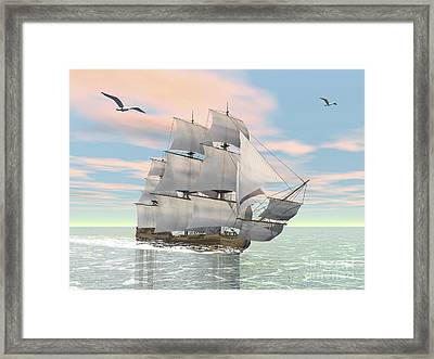 Old Merchant Ship Sailing In The Ocean Framed Print