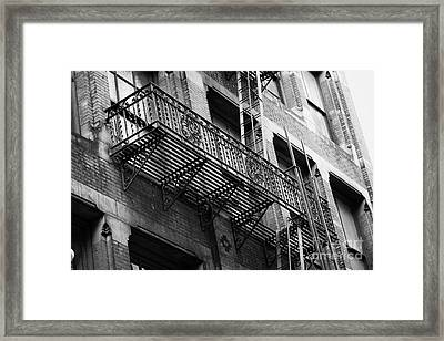 Old Metal Fire Escape Staircase On Side Of Building Greenwich Village New York City Framed Print