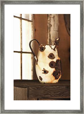 Old Metal Pitcher Framed Print by Art Block Collections