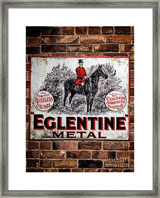 Old Metal Sign Framed Print by Adrian Evans