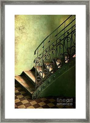 Old Metal Stairs With Decorated Handrail Framed Print
