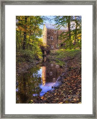 Old Mill Reflected In A Creek Framed Print by George Oze