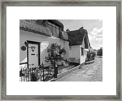 Old Mill Thatched Cottage Bw Framed Print