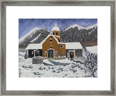 Framed Print featuring the painting Old Mission In Winter by Mary M Collins