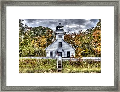 Old Mission Lighthouse In Fall Framed Print