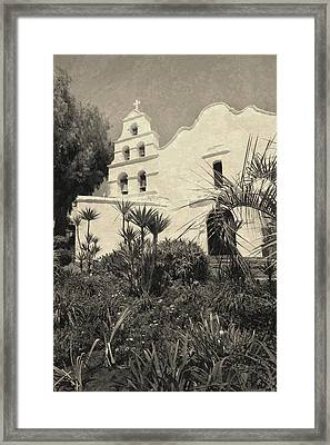 Old Mission San Diego In Sepia Framed Print by Gordon Beck
