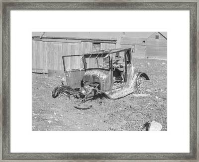 Old Model T Ford Used As Turkey Roost Framed Print