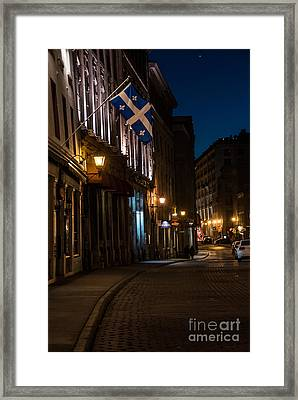 Old Montreal At Night Framed Print by Cheryl Baxter