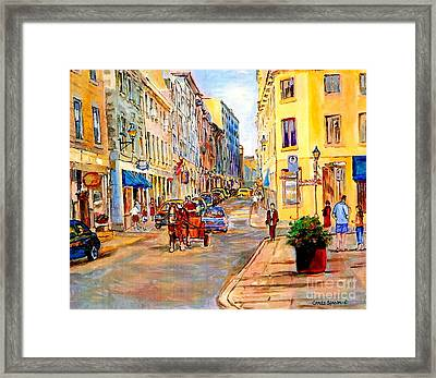 Old Montreal Paintings Youville Square Rue De Commune Vieux Port Montreal Street Scene  Framed Print by Carole Spandau