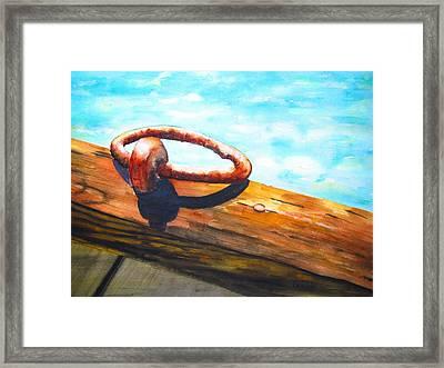Old Mooring Ring On Wood Dock Framed Print by Carlin Blahnik
