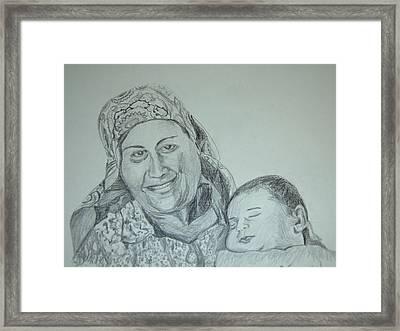 Old Mother With New Baby Framed Print by Esther Newman-Cohen