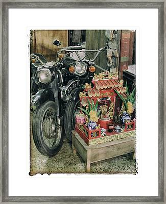 Old Motorcycles East Of Bangkok Framed Print by River Engel