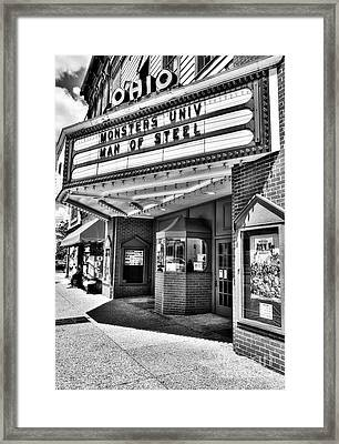 Old Movie Theater Bw Framed Print by Mel Steinhauer