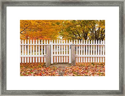 Old New England White Picket Fence Framed Print by Edward Fielding
