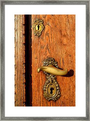 Old Oak Door With Brass Handle And Locks Framed Print