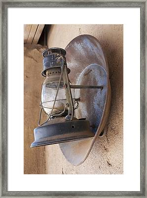 Old Oil Lamp With Reflector Framed Print