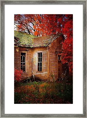 Old One Room School House In Autumn Framed Print