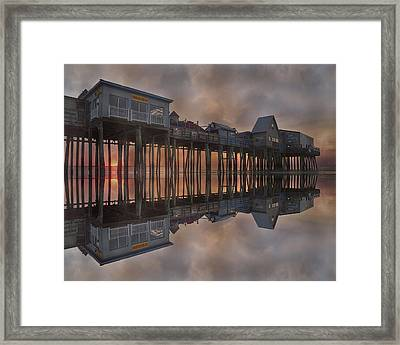 Old Orchard Pier Reflection Framed Print by Betsy Knapp