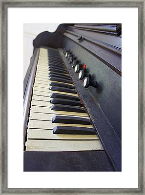 Old Organ Keyboard Framed Print by Laurie Perry