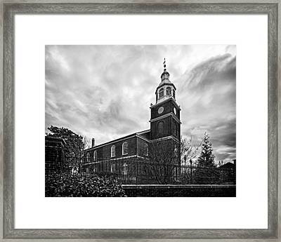Old Otterbein Church In Black And White Framed Print by Bill Swartwout