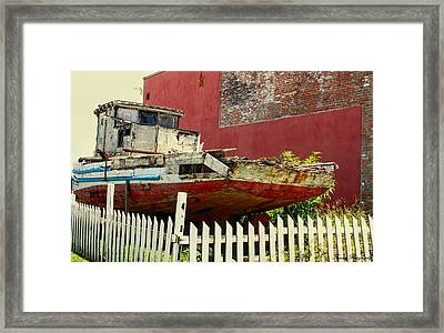 Old Oyster Boat Framed Print by Debra Forand