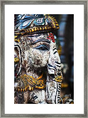 Old Painted Wooden Ganesha Framed Print by Tim Gainey