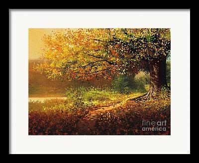 Fallen Leaf Mixed Media Framed Prints