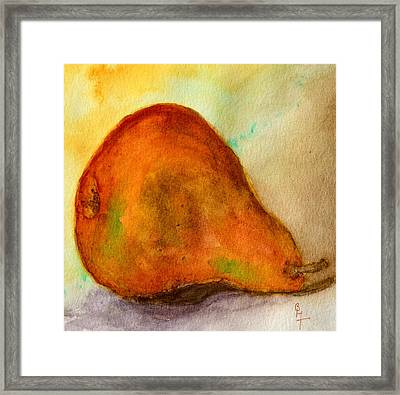 Old Pear Framed Print by Beverley Harper Tinsley
