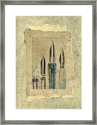 Old Pens Old Papers Framed Print by Carol Leigh