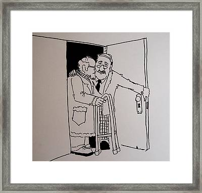 Old People Cartoon Framed Print by Mike Jory