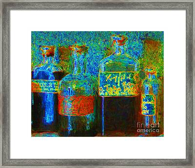 Old Pharmacy Bottles - 20130118 V1a Framed Print by Wingsdomain Art and Photography