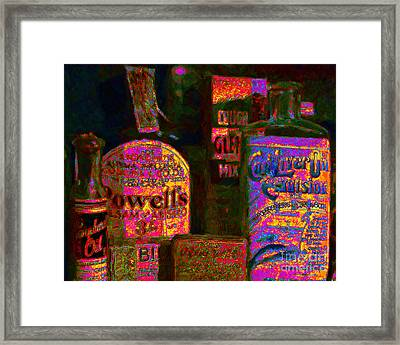 Old Pharmacy Bottles - 20130118 V2a Framed Print by Wingsdomain Art and Photography