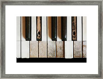 Old Piano Framed Print by Jim Hughes