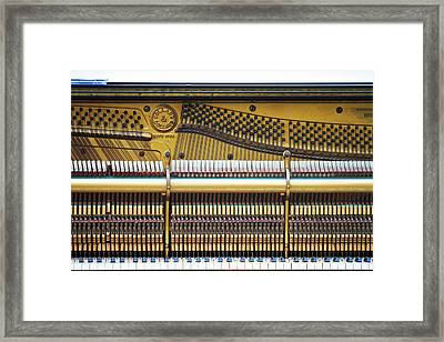 Old Piano Sits On The Shores Of Lake Framed Print