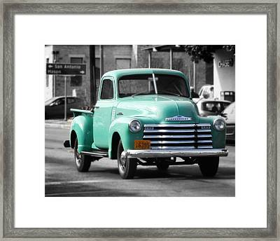 Old Pickup Truck Photo Teal Chevrolet Framed Print