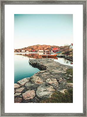 Old Pier And Boats Framed Print
