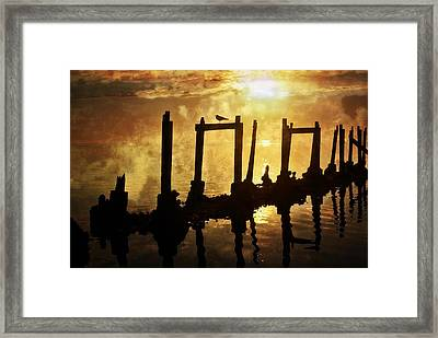 Framed Print featuring the photograph Old Pier At Sunset by Marty Koch