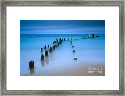 Old Pier Pilings On Lake Michigan Framed Print by Katherine Gendreau