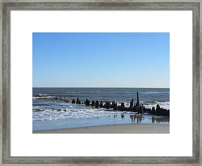 Old Pier Remnants 6 Framed Print by Cathy Lindsey