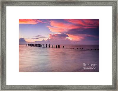 Old Naples Pier Sunset Framed Print