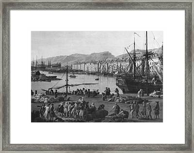 Old Port Of Toulon, Seen From The Quartermasters Stores, Series Of Les Ports De France, 1757 Framed Print