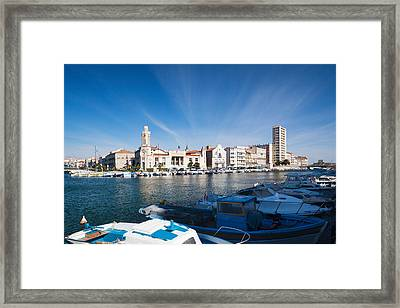 Old Port With City At The Waterfront Framed Print by Panoramic Images