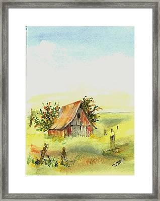 Old Prairie Barn Framed Print by David Patrick