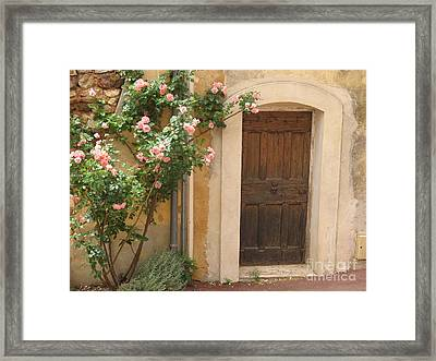 Old Provence Door And Rose Tree Framed Print by Christiane Schulze Art And Photography
